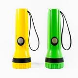 2 из пластичного электрофонаря факела изолированного на белизне Стоковая Фотография