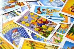 10 из семьи успеха старых денег карточки Tarot Pentacles длительной иллюстрация штока