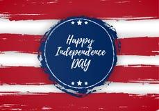 4 из США -го поздравительной открытки Дня независимости в июле Дизайн национального флага Стоковые Фото