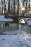 Излучающее солнце на заходе солнца освещает замороженный поток в старом дворянском сословии Стоковая Фотография