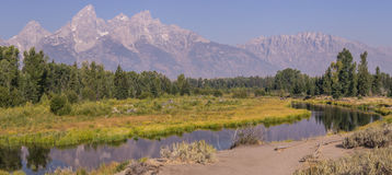 Излучина реки и горы Стоковые Изображения RF