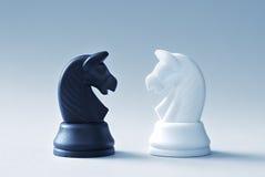 2 из шахмат knights на свете - голубой предпосылке Стоковое Фото