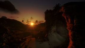 Иисус на кресте на восходе солнца и свете воскресения, наклона, отснятого видеоматериала запаса