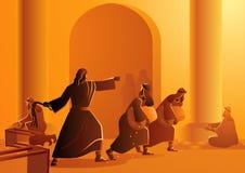 Иисус очищает висок иллюстрация вектора