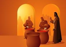 Иисус поворачивает воду в вино бесплатная иллюстрация
