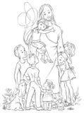 Иисус при законспектированные дети Стоковое Фото