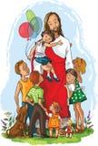Иисус с детьми Стоковая Фотография