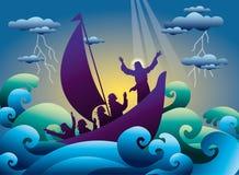 Иисус утихомиривает шторм на шлюпке бесплатная иллюстрация