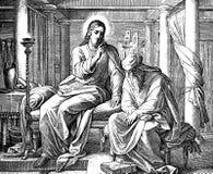 Иисус учит Nicodemus стоковое фото rf