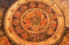 Иисус Христос и зодиак подписывают на фреске древней стены собора Svetitskhoveli Место наследия Unesco Стоковые Фотографии RF