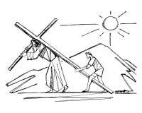 Иисус Христос на его иллюстрации страсти стоковое изображение