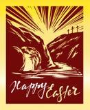 Иисус Христос пасхи поднял от умерших утро воскресенье рассвет Пустая усыпальница на заднем плане распятия Стоковые Изображения