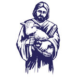 Иисус Христос, сын бога, держа овечку в его руках, символ иллюстрации вектора христианства нарисованной рукой Стоковая Фотография RF