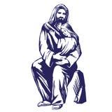 Иисус Христос, сын бога, держа ребенка в его руках, символ эскиза иллюстрации вектора христианства нарисованного рукой Стоковое Фото