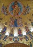 Иисус Христос с Архангелами и апостолами Часть картины главного купола собора St Nicholas в Kronstadt стоковое изображение rf