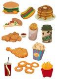 икона быстро-приготовленное питания шаржа иллюстрация вектора