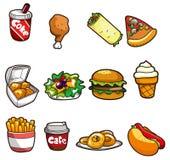 икона быстро-приготовленное питания шаржа иллюстрация штока