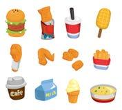икона быстро-приготовленное питания шаржа Стоковые Изображения