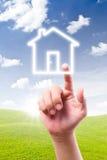 икона дома руки указывая к стоковое изображение rf