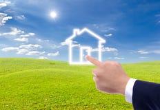 икона дома руки указывая к стоковые изображения rf