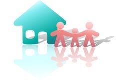 икона семьи ребенка счастливая домашняя parents символ Стоковое Изображение RF