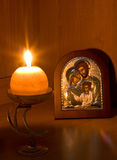 икона семьи свечки пламенеющая правоверная стоковые изображения