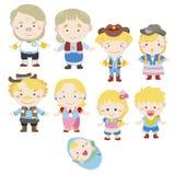 Икона семьи шаржа Стоковое Изображение RF