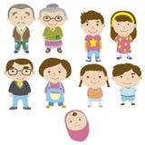 Икона семьи шаржа Стоковое Изображение
