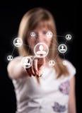 Икона сети отжимать руки женщины социальная стоковые фотографии rf