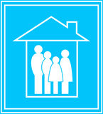 Икона с семьей и домом Стоковые Фотографии RF