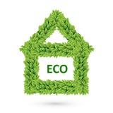 Икона экологичности домашняя зеленых листьев Стоковое Изображение RF