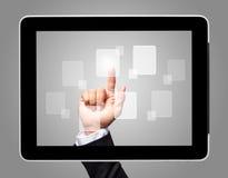 Икона экрана касания руки фактически стоковое фото