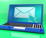 Икона электронной почты на компьтер-книжке стоковые изображения