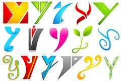 икона y алфавита различная Стоковое Изображение