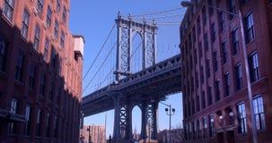 Иконический мост Манхаттана осмотренный от Dumbo, Бруклина Стоковое Изображение RF