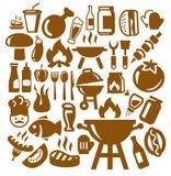 Иконы барбекю Стоковое Изображение