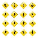 иконы баскетбола подписывают желтый цвет Стоковая Фотография