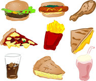 иконы быстро-приготовленное питания иллюстрация вектора