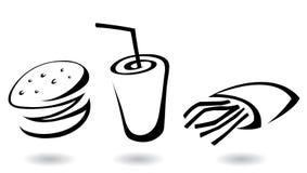 иконы быстро-приготовленное питания Стоковое фото RF