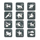 иконы Все знаки зодиака иллюстрация цвета кнопок мое портфолио к гостеприимсву вектора иллюстрация штока