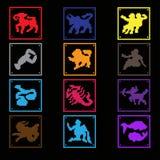 иконы Все знаки зодиака Цвет застегивает pixelart иллюстрация вектора