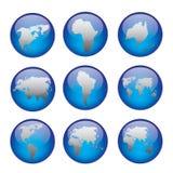 Иконы глобуса Стоковые Фотографии RF