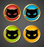 Иконы головки черного кота Стоковые Фотографии RF