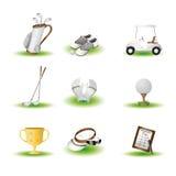 иконы гольфа Стоковое Изображение RF