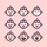 иконы девушки младенца милые Стоковое Изображение