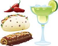 иконы еды мексиканские Стоковые Изображения