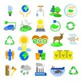 иконы детального eco экологические относящие к окружающей среде высоки Стоковое Изображение