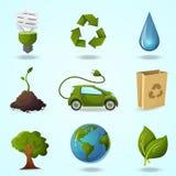 иконы детального eco экологические относящие к окружающей среде высоки иллюстрация вектора