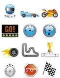 иконы едут на автомобиле участвовать в гонке Стоковые Фото
