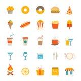 Иконы еды и питья иллюстрация вектора